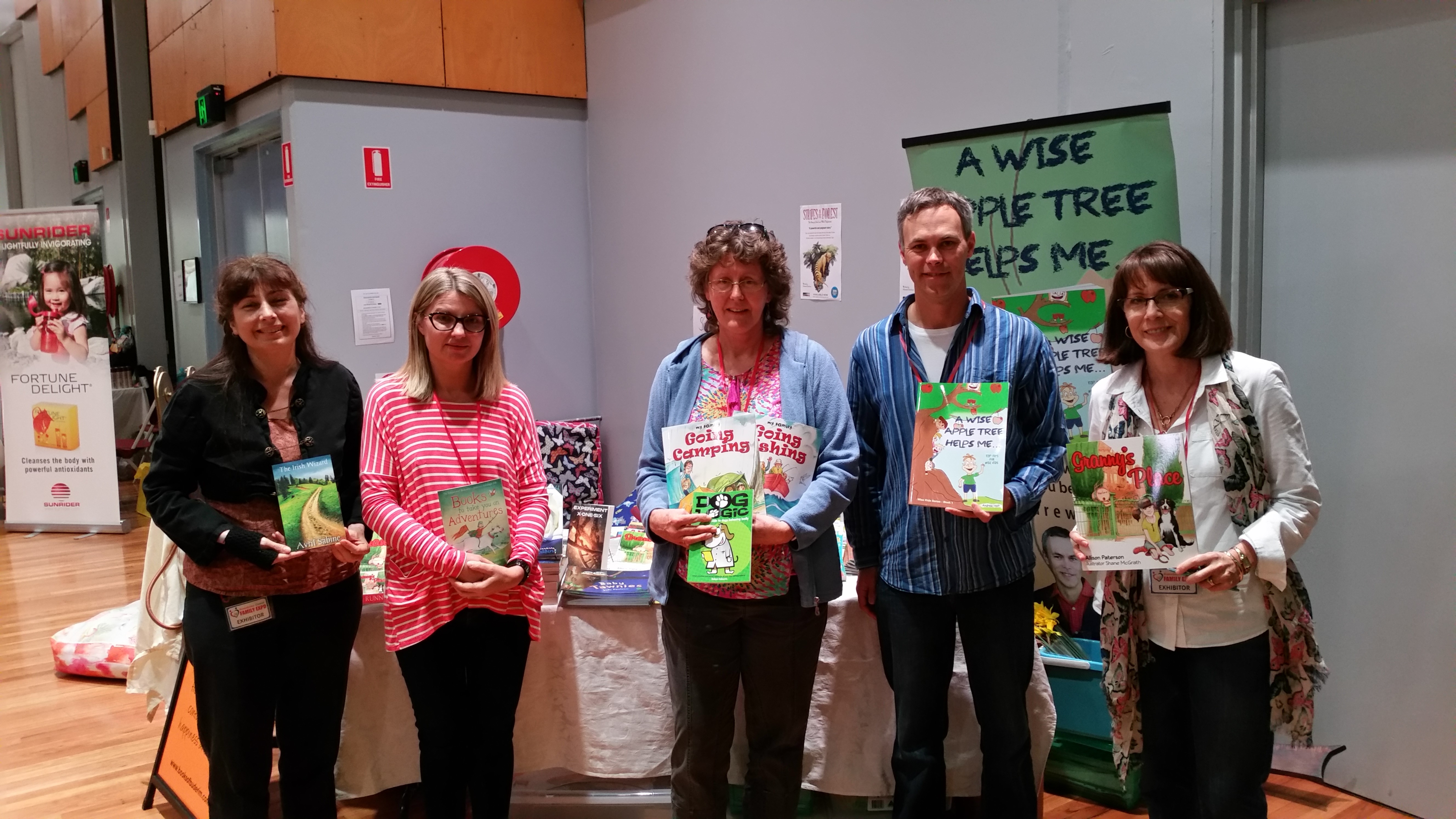 Local authors at the Sunshine Coast Family Expo. L to R Avril Sabine, Fiona Blond (Books on Buderim), me, Andrew Holt and Allison Paterson.